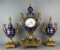 French Sevres Porcelain  Gilt Bronze Clock Set