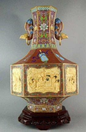 Chinese Cloisonne w/ Bone & Porcelain Plaques