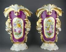 Pair of Old Paris Hand Painted Porcelain Vases