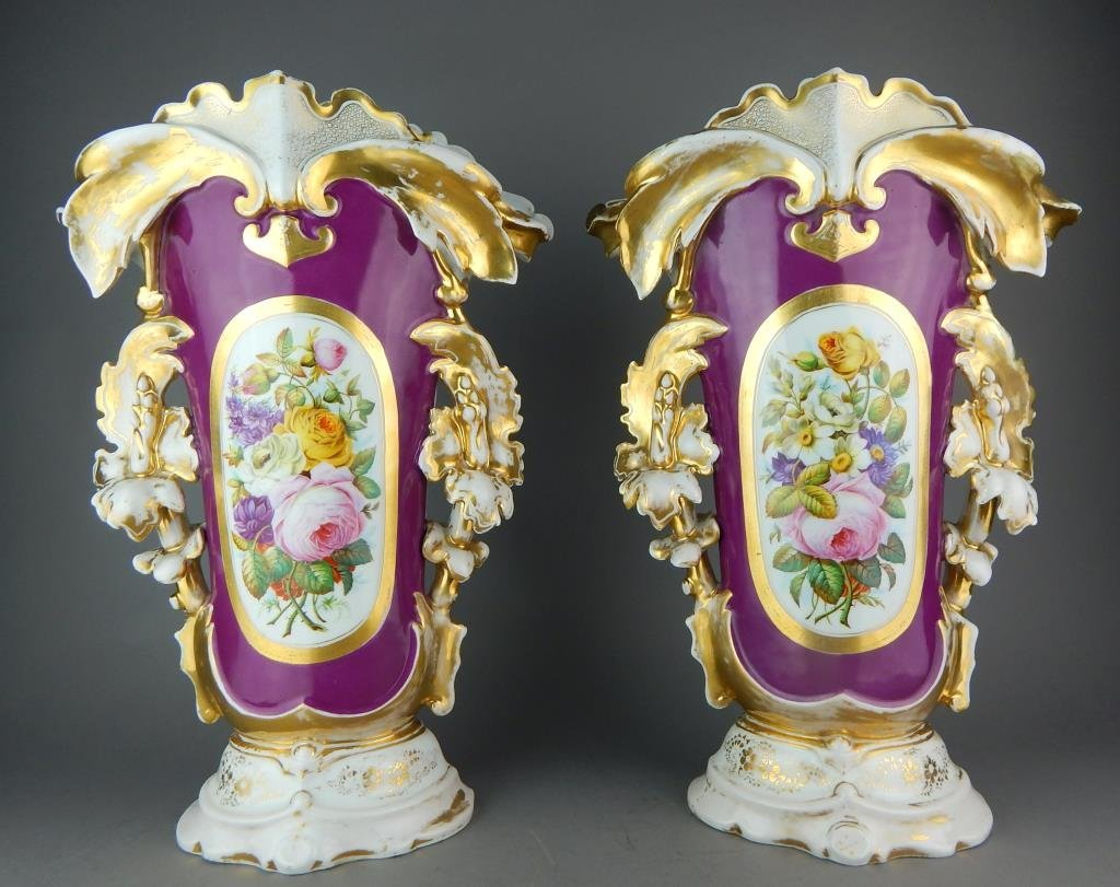 Pair of Old Paris Hand Painted Porcelain Vases