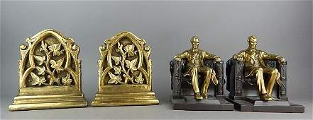 Carved Giltwood and Lincoln in the Chair Bookends