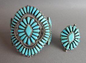 Zuni Large Turquoise Cuff With Matching Ring