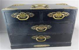 Chinese Black Lacquer Musical Jewelry Chest