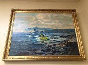 Original oil on Canvas Rescue Sea Plane
