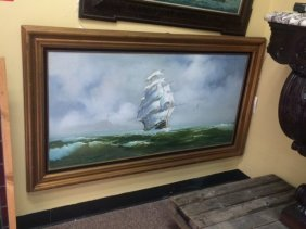 Original Oil on Canvas Ship Scene, Artist Signed