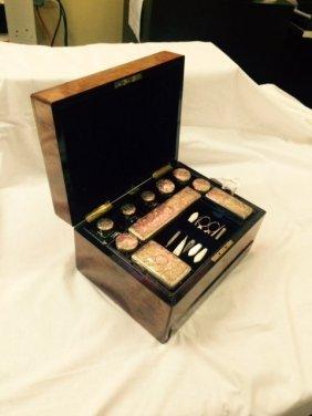 Antique English Ladies Silver & Crystal vanity set