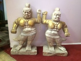 Pair of Marble Chinese Warriors