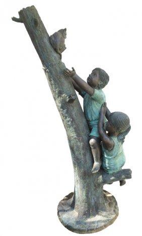 Bronze Sculpture of Children Saving Kitten