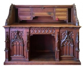 Carved oak double -sided Gothic desk