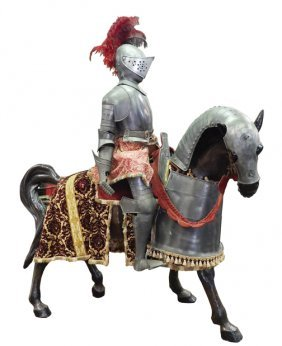 Life-size armored knight on armored horse