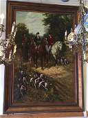 Grand scale oil on canvas of English hunt scene