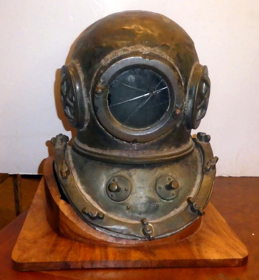 Bronze diver's helmet with shoulder assembly - 2