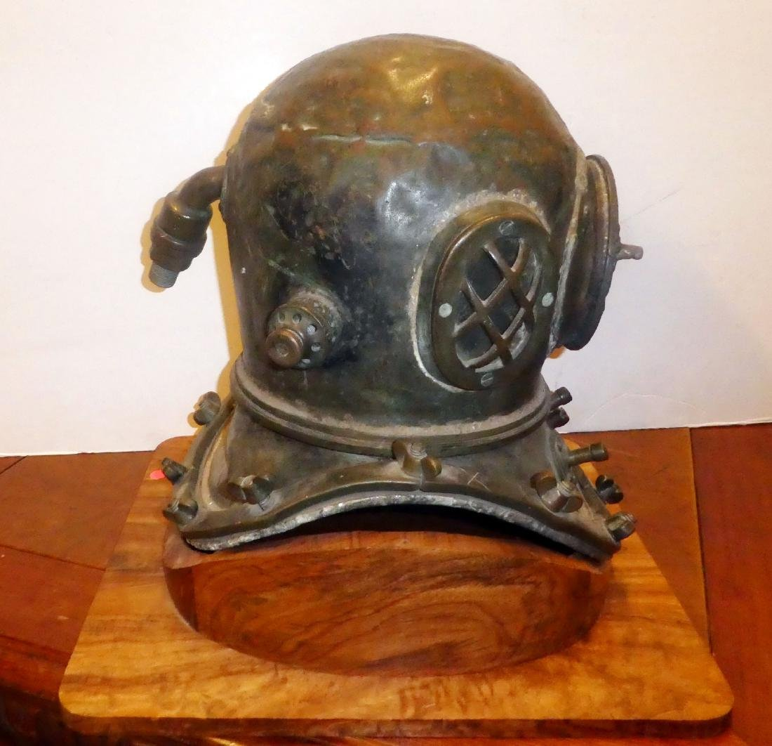 Bronze diver's helmet with shoulder assembly - 3