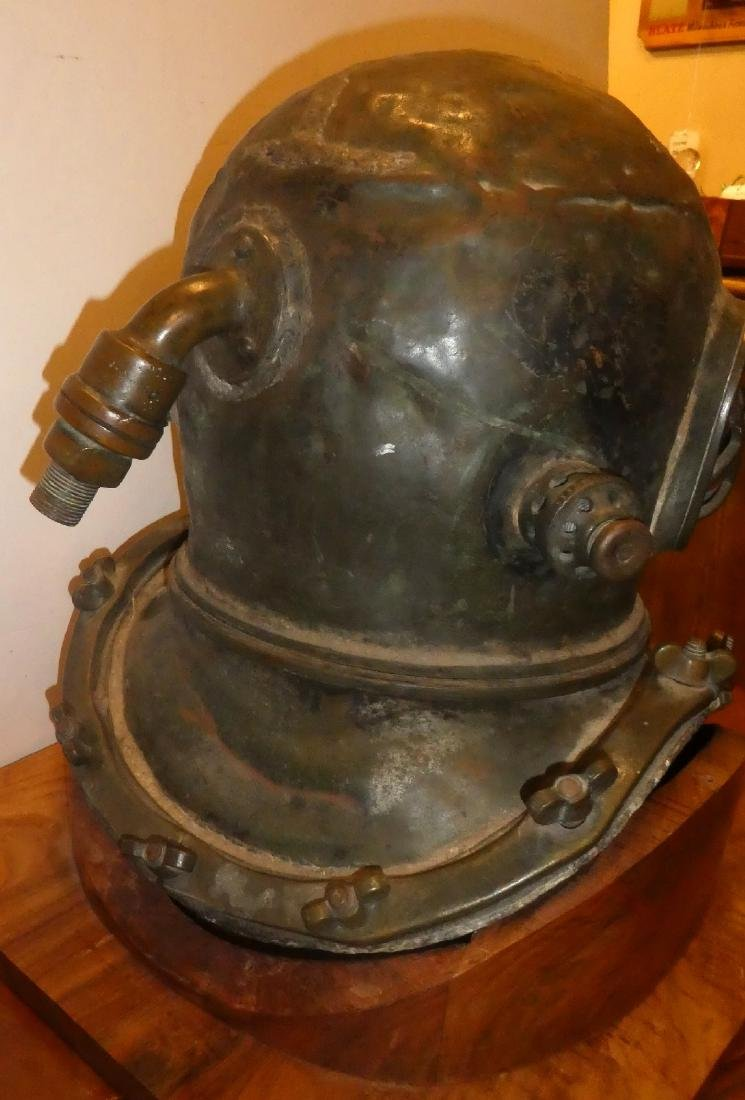 Bronze diver's helmet with shoulder assembly - 4