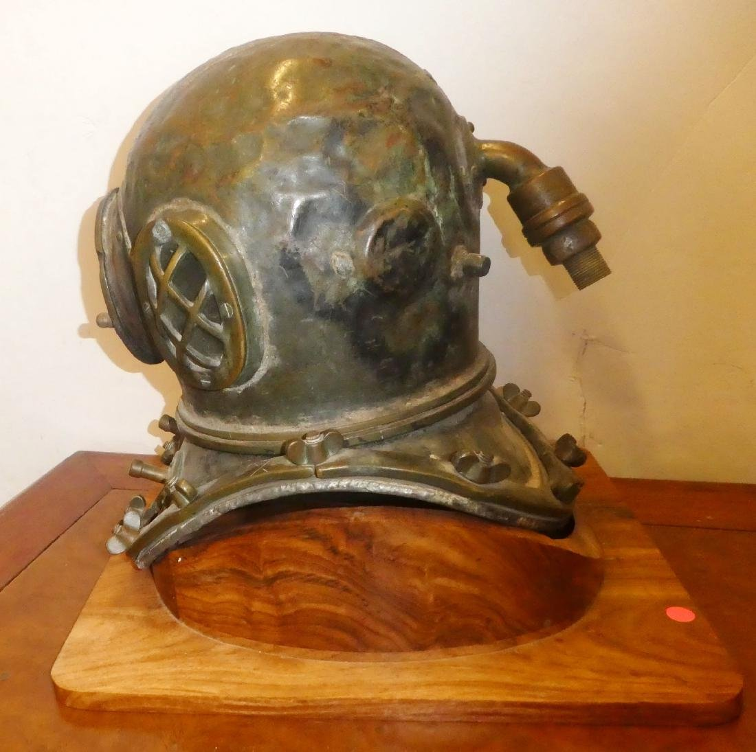 Bronze diver's helmet with shoulder assembly - 6