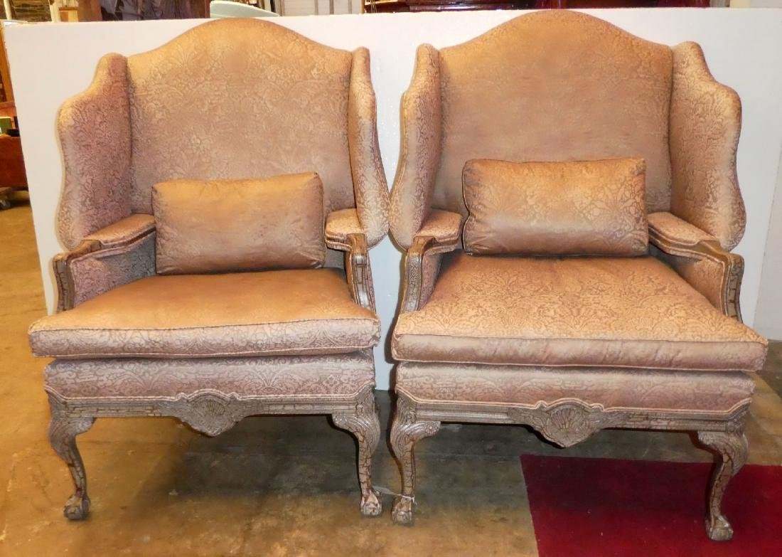 Pair of Lillian August fireside wingback chairs