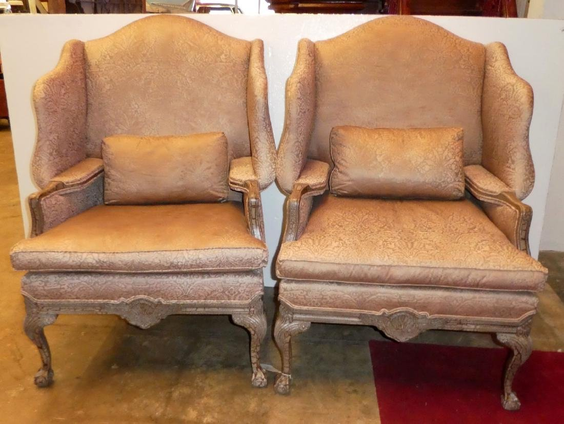 Pair of Lillian August fireside wingback chairs - 3