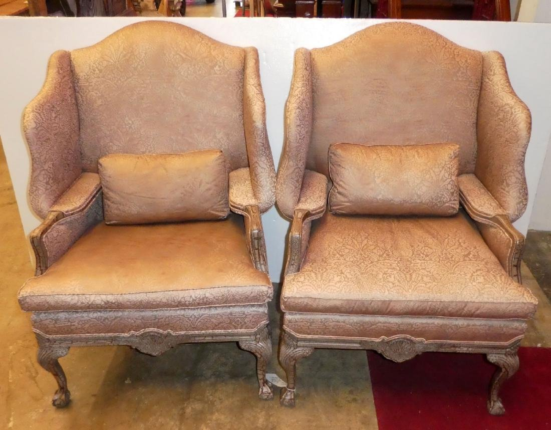 Pair of Lillian August fireside wingback chairs - 4