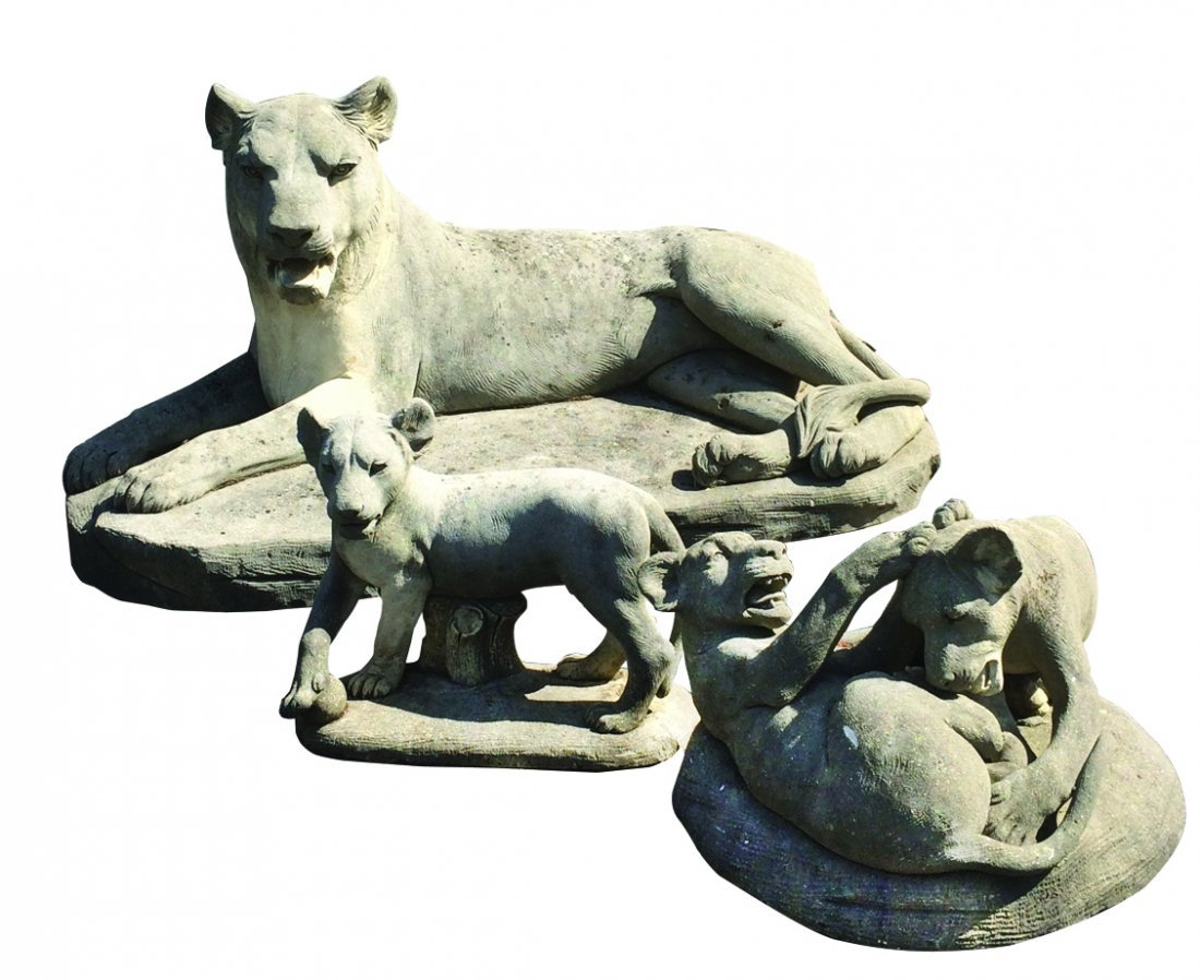 Grouping of 3 cut Vicenza stone lions & cubs