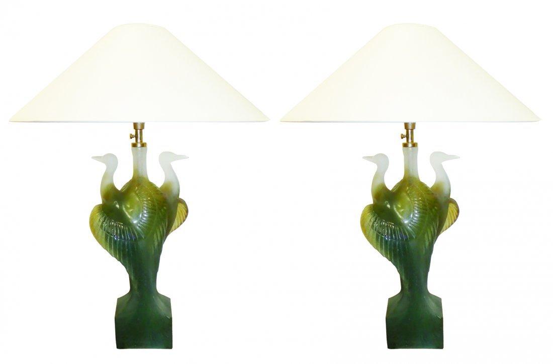 Pair of Daum crystal double heron lamps