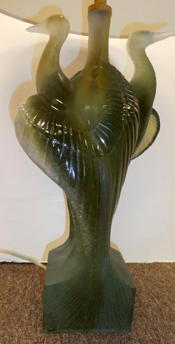 Pair of Daum crystal double heron lamps - 5