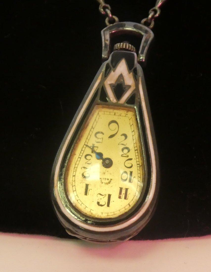 Art Deco onyx & diamond watch pendant