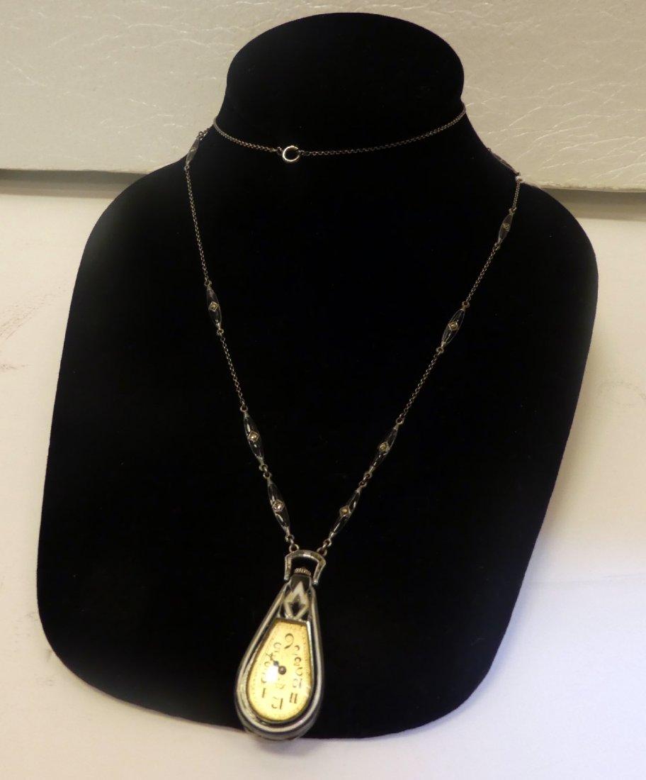 Art Deco onyx & diamond watch pendant - 3