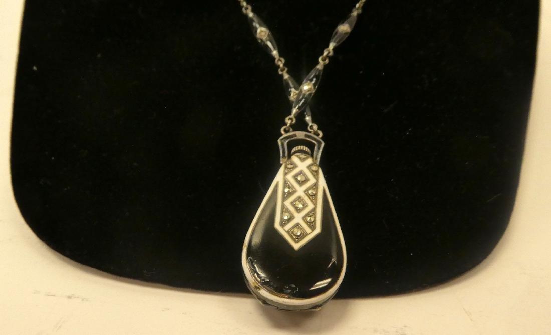 Art Deco onyx & diamond watch pendant - 6