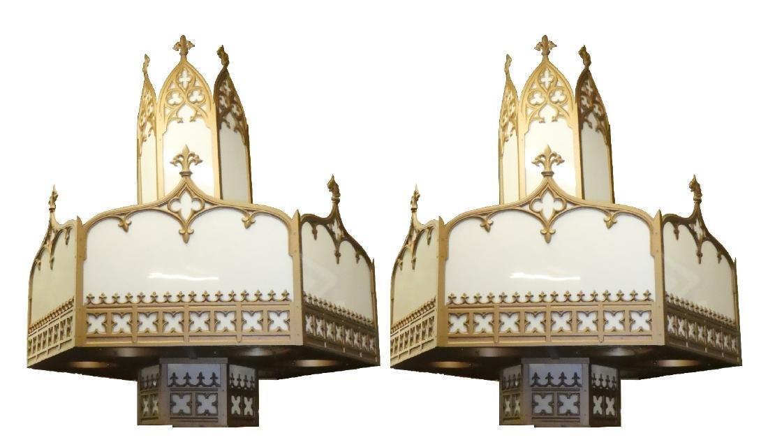 Pair Gothic theatre chandeliers