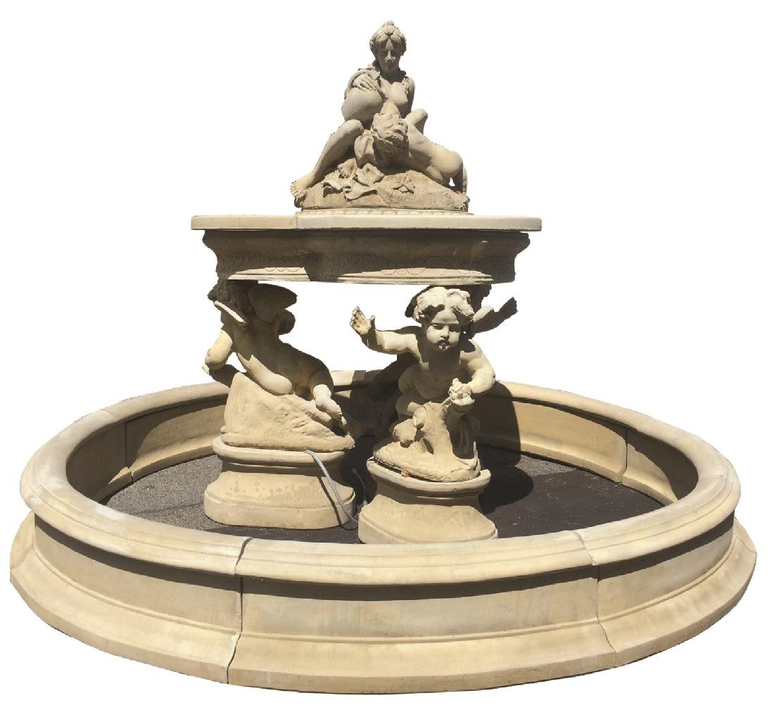 Cast stone figural fountain group with cherubs