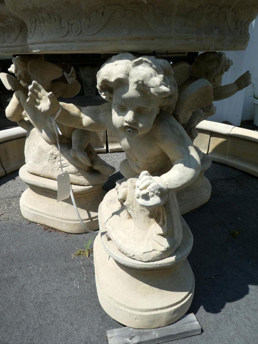 Cast stone figural fountain group with cherubs - 2