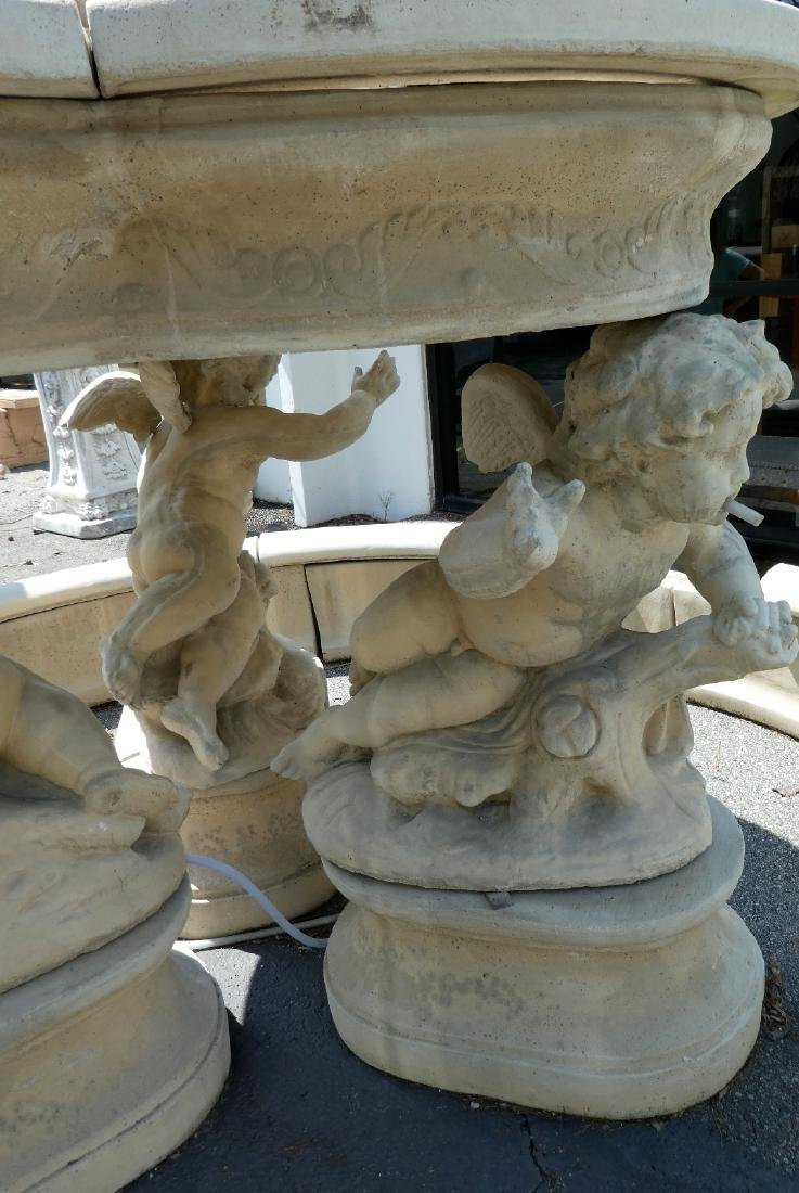 Cast stone figural fountain group with cherubs - 3