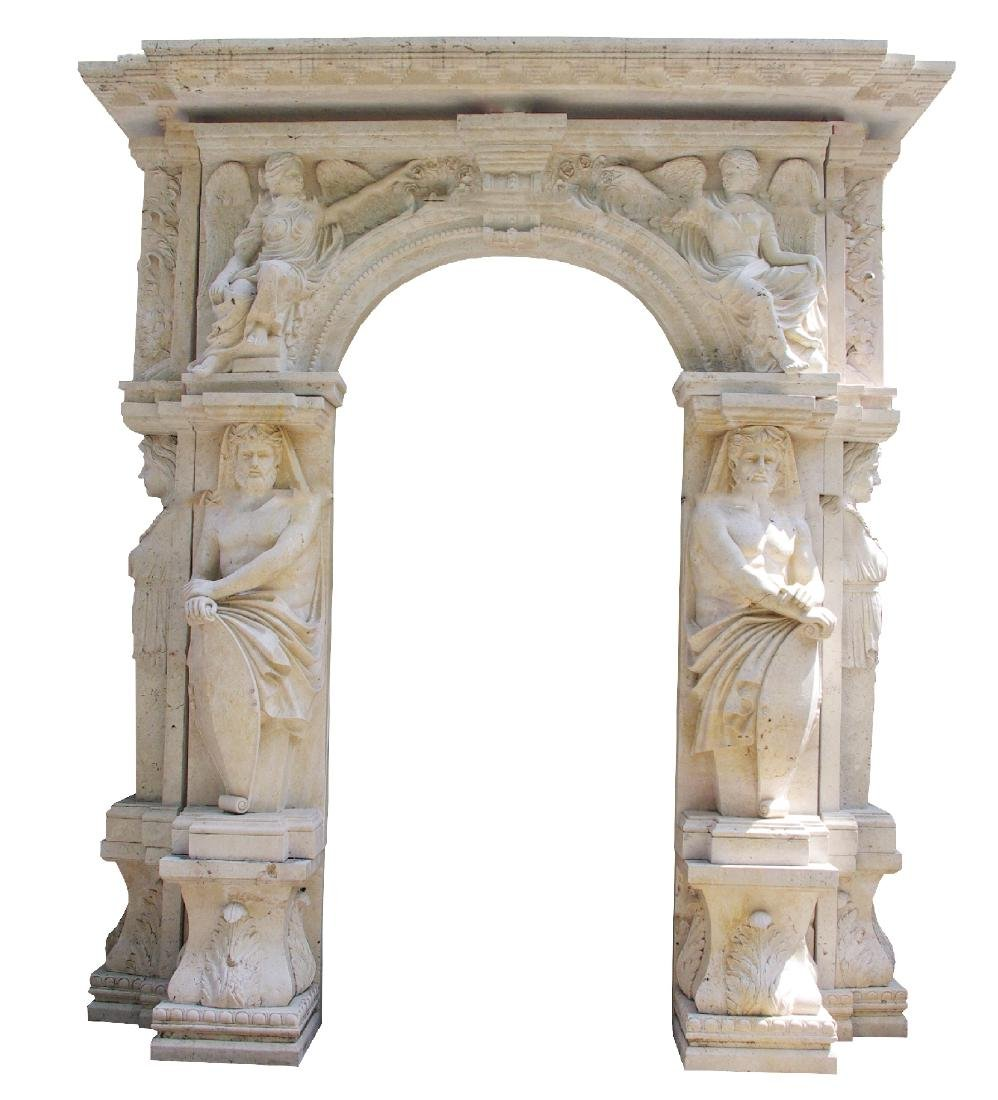 Carved sandstone arch with Atlas & caryatids
