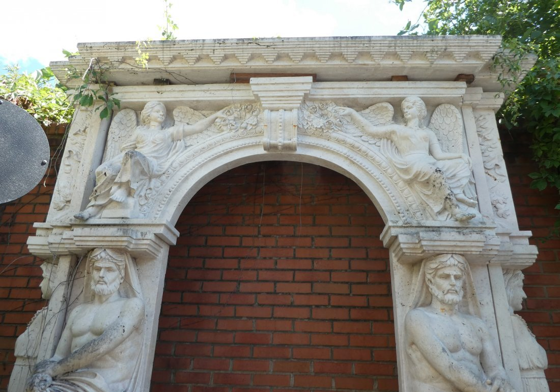 Carved sandstone arch with Atlas & caryatids - 2