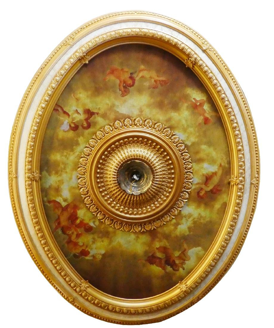Oval gilt ceiling medallion with cherubs