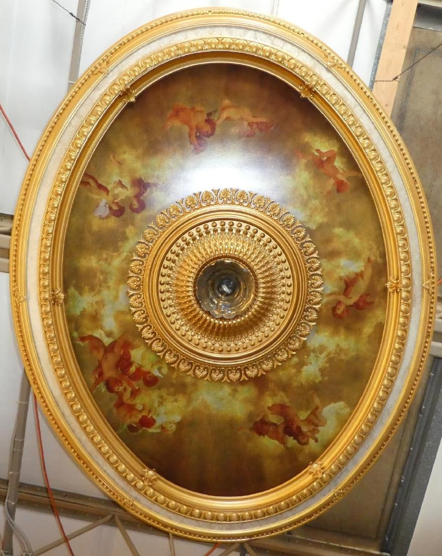 Oval gilt ceiling medallion with cherubs - 3