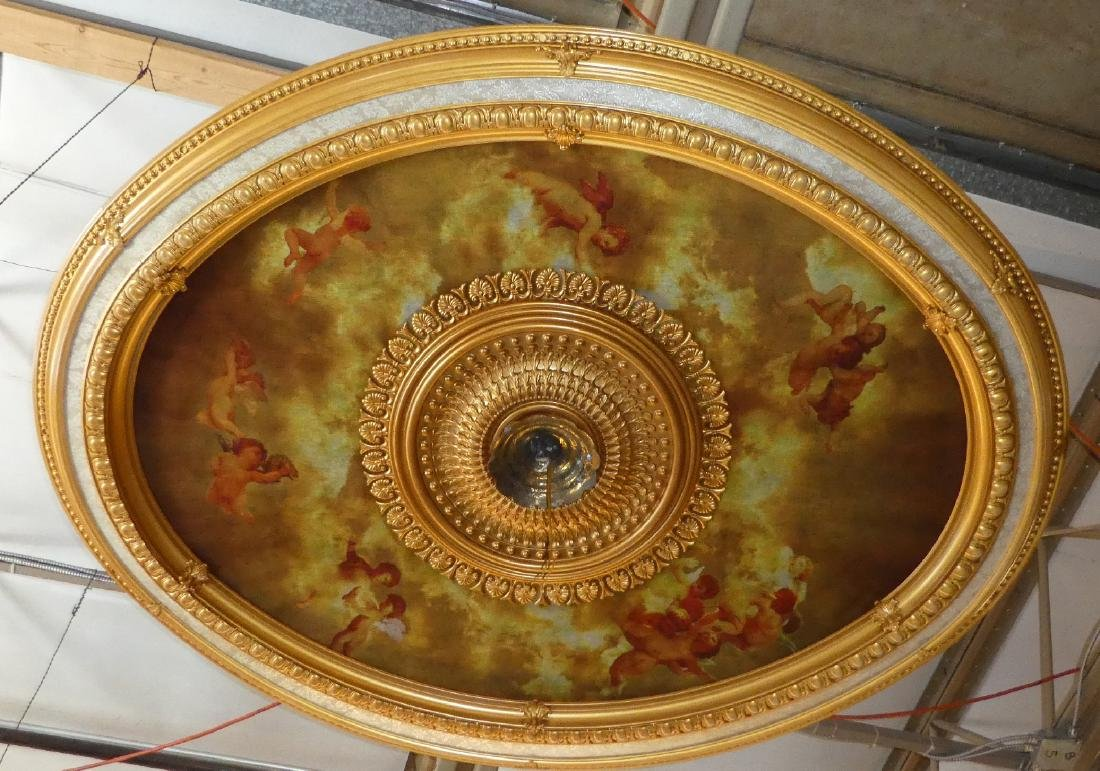 Oval gilt ceiling medallion with cherubs - 4