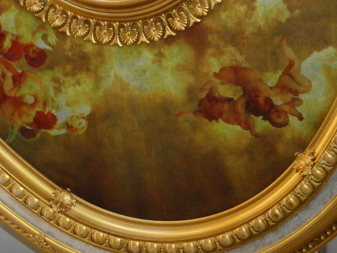 Oval gilt ceiling medallion with cherubs - 5