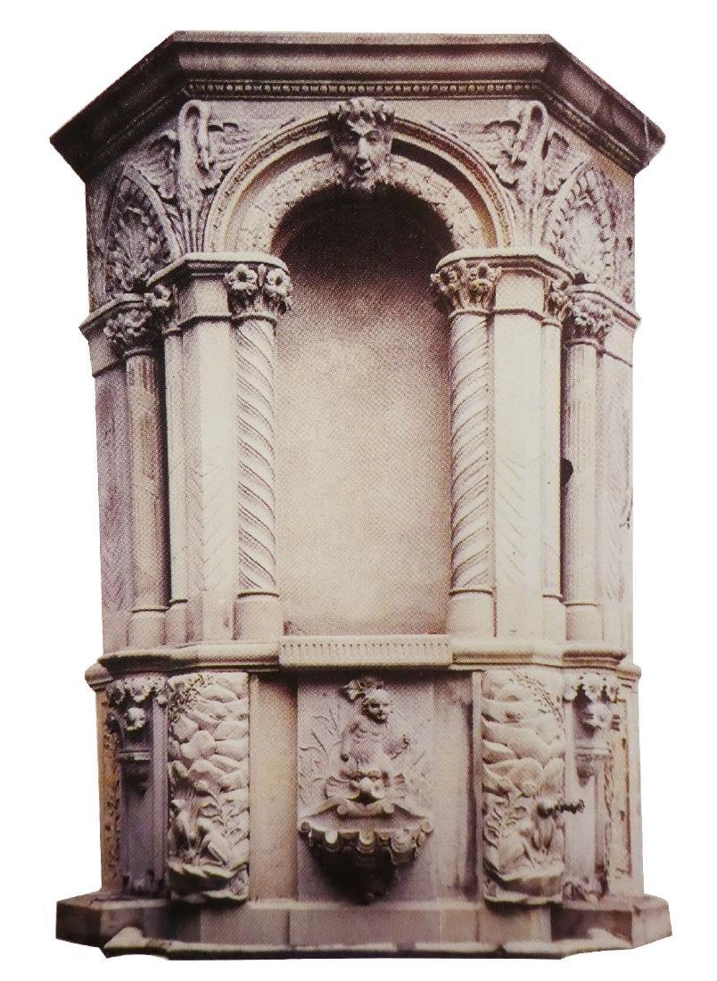 Antique cut stone Romanesque wall niche