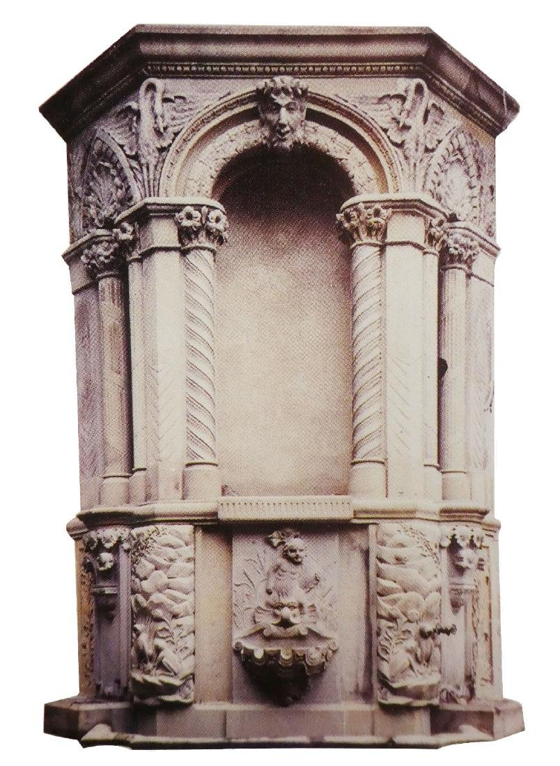Antique cut stone Romanesque wall niche
