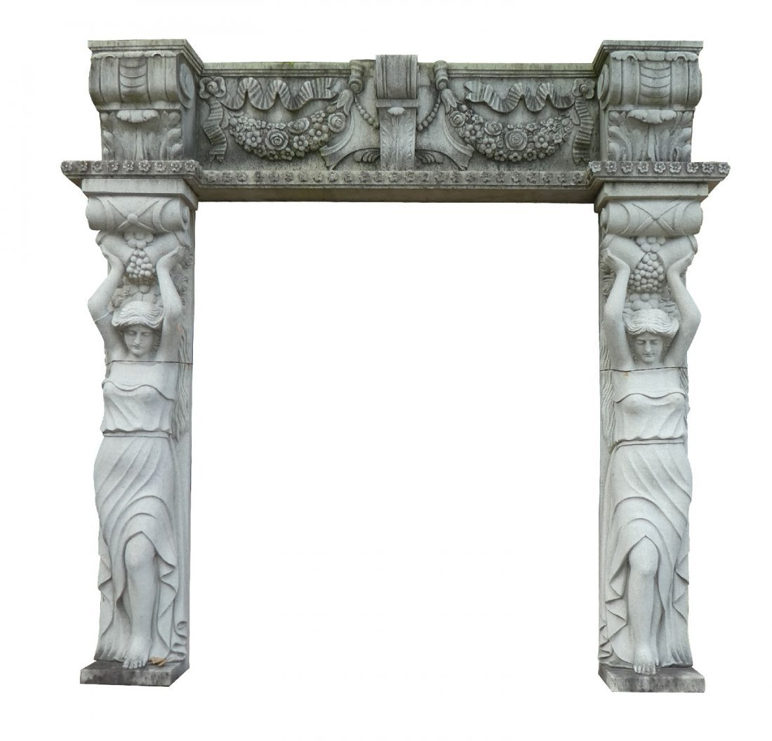 Belgian cut stone figural entry way
