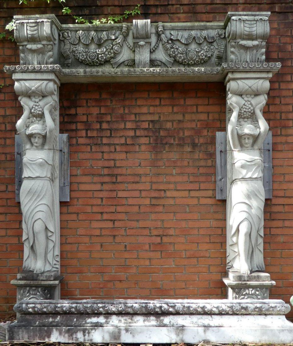 Belgian cut stone figural entry way - 2
