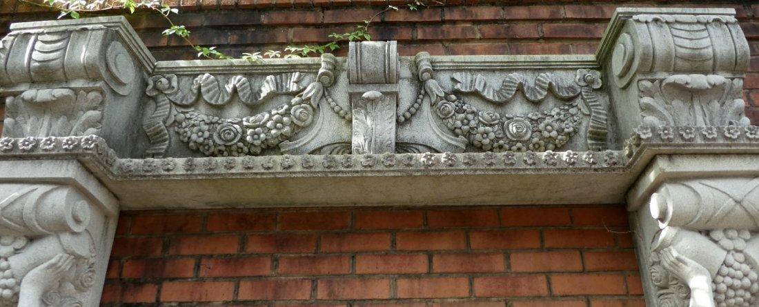Belgian cut stone figural entry way - 3