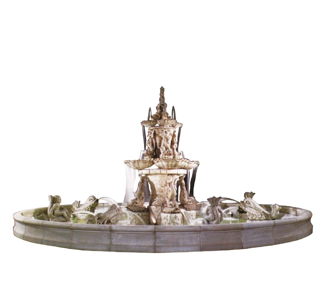 Grand scale Italian cast fountain group with dolphins