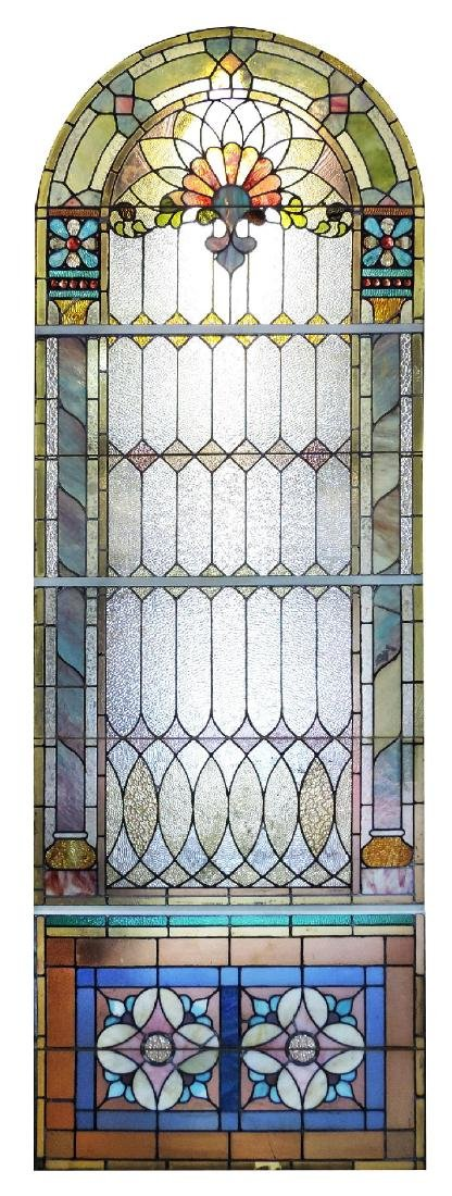 American stained glass archtop landing window
