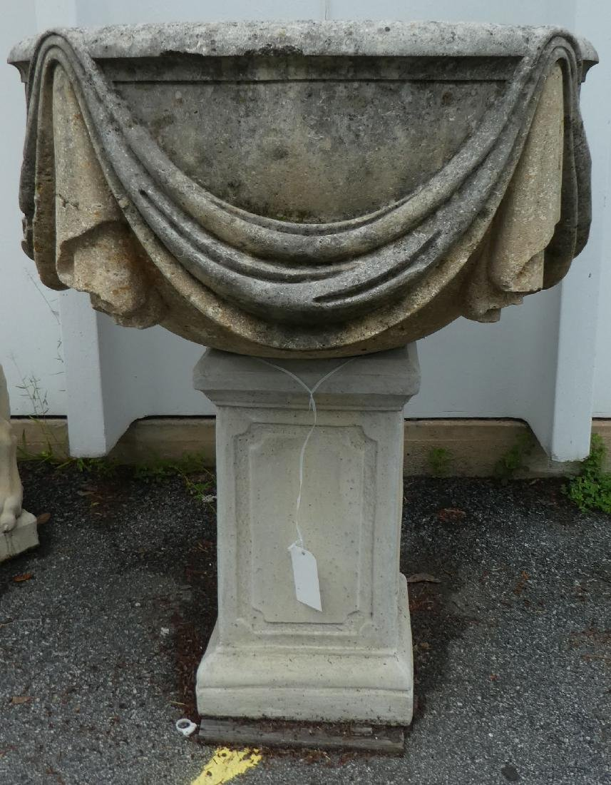 Classical garden urn with draped cloth - 2