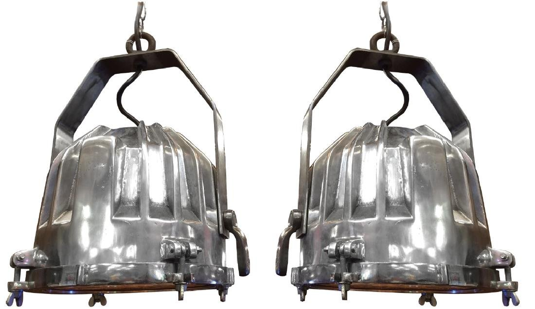 Pair of Industrial nickel over bronze lights