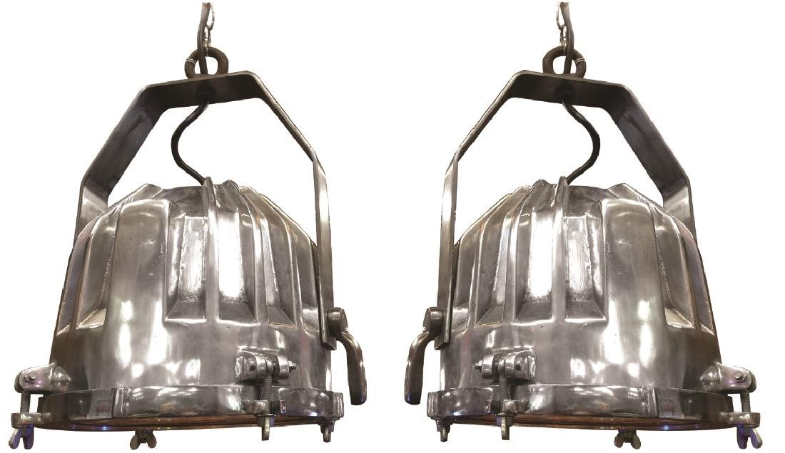Pair of Industrial nickel over bronze lights - 2