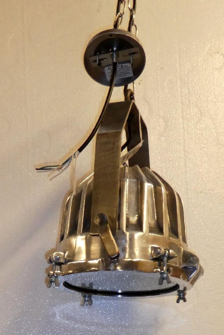 Pair of Industrial nickel over bronze lights - 5