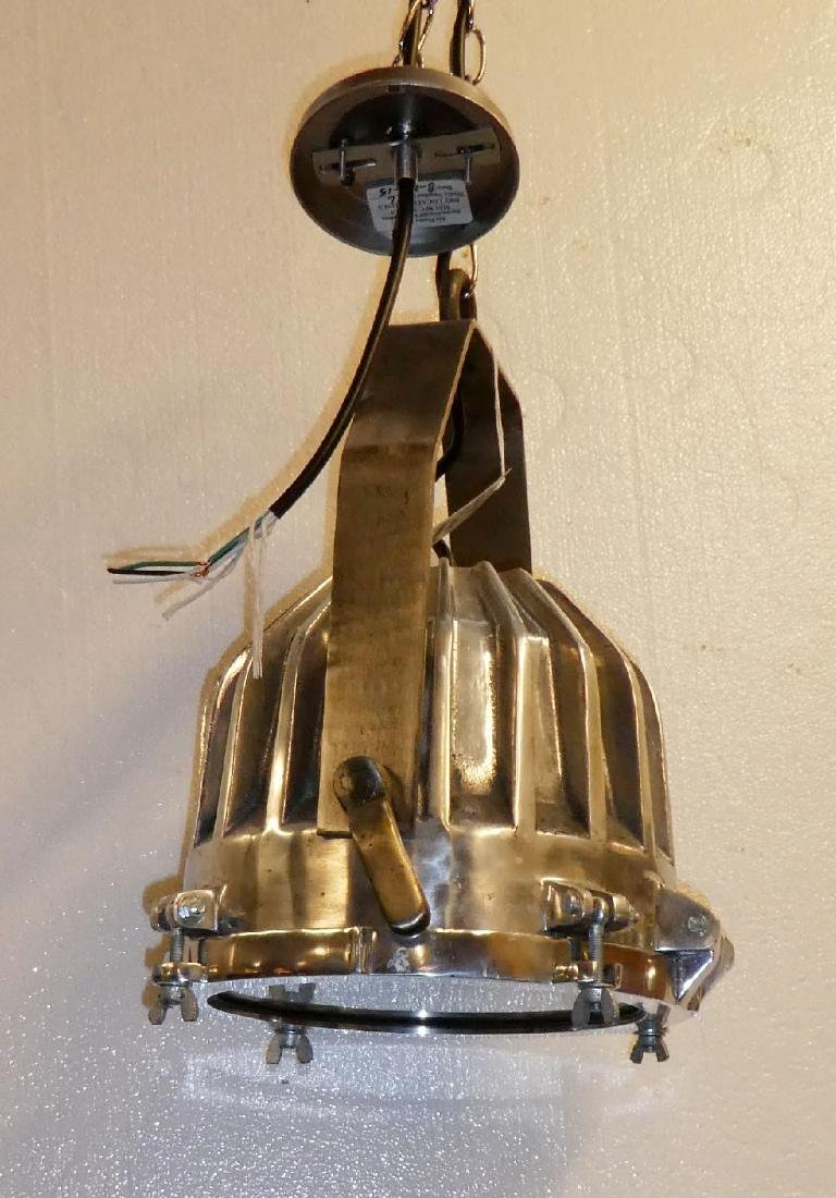 Pair of Industrial nickel over bronze lights - 6